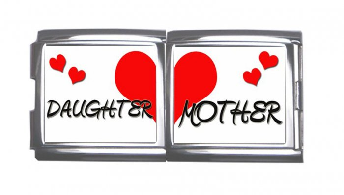 New 18mm Mega photo Italian Charm 2 Set -- Heart Mother Daughter