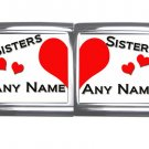 New 18mm Mega photo Italian Charm 2 Set -- Sisters Any Names