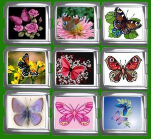 New 18mm Mega Set of 9 Uberry Italian Charms - Butterflys