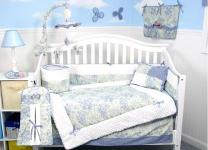 French Blue Toile Baby Infant Crib Nursery  Bedding 15pcs Set
