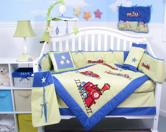 Choo Choo Train Baby Boy Crib Nursery Bedding Set 15pcs