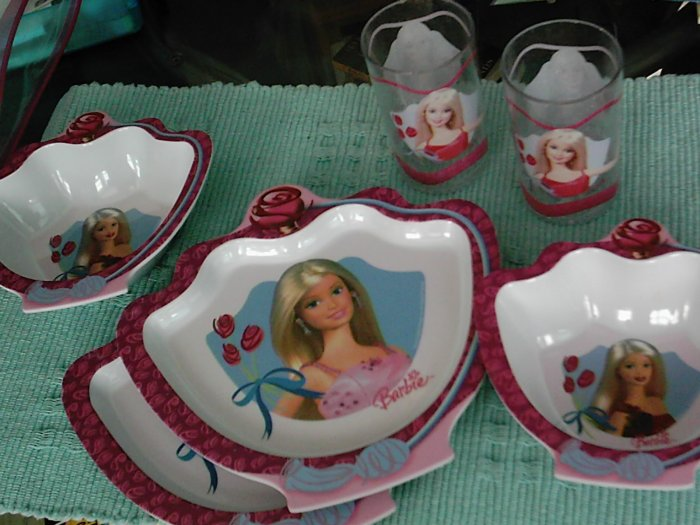 Barbie Kid's Plates Luncheon Dinnerware Cups 2 Sets