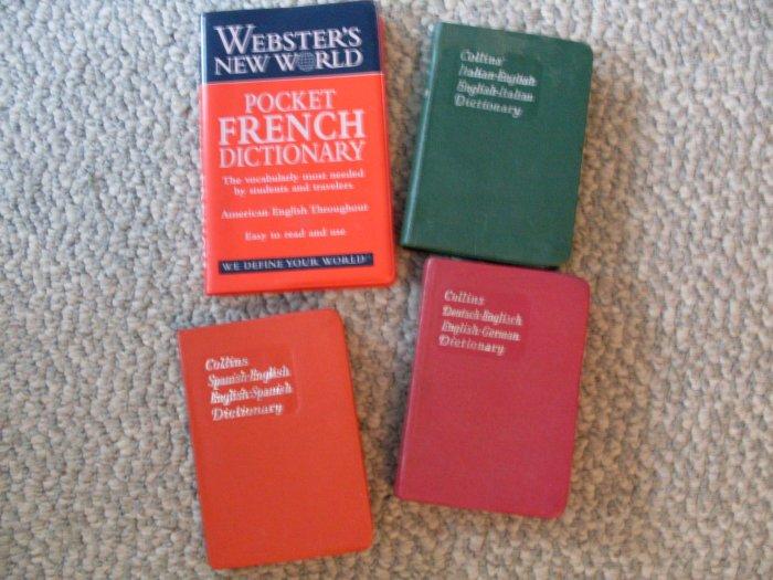 Lot 4 Collins Gem Dictionaries French Spanish German Italian