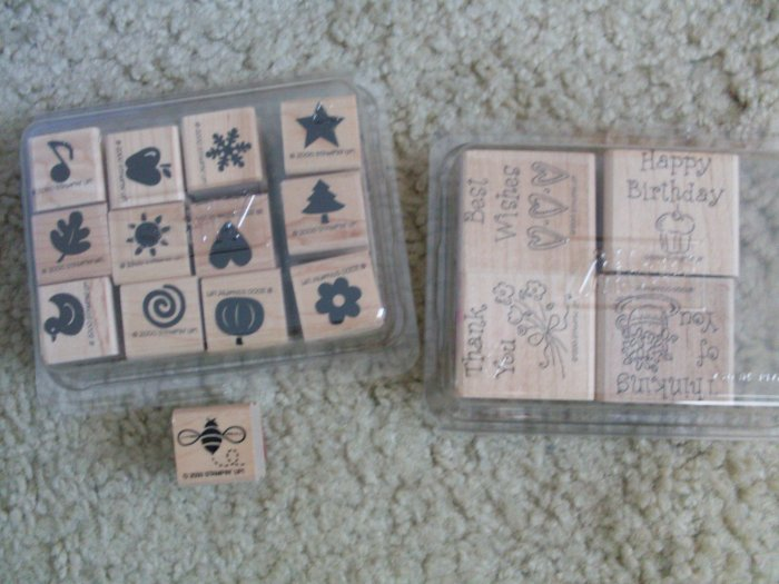 Set 17 Stampin' Up Rubber Stamps 1998 2000 Holidays Bee