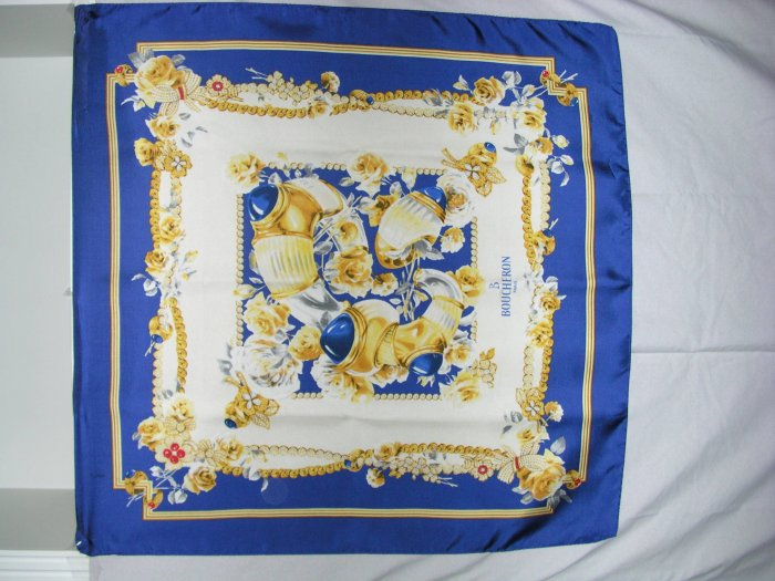 "Rare Silk Scarf 34"" square Boucheron Fragrances Paris"