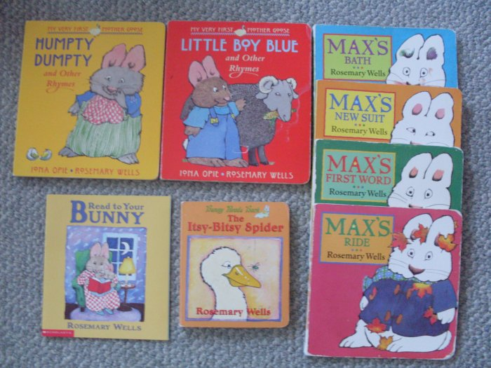 Lot 8 Rosemary Wells Max Board Books Itsy Bitsy Spider