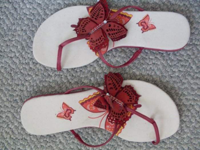 NEW Avon Red Butterflies Sandals Size 6 Ladies Girls