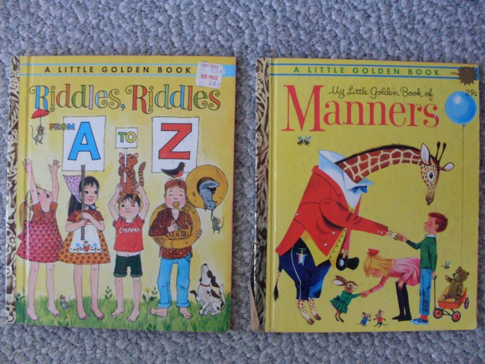 Lot 2 Little Golden Book Riddles Manners LGB 1st edition
