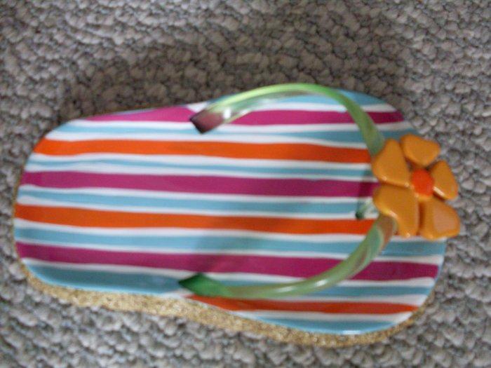 New Ceramic Flip Flop Soap Dish Shoe Sandal Summer Fun