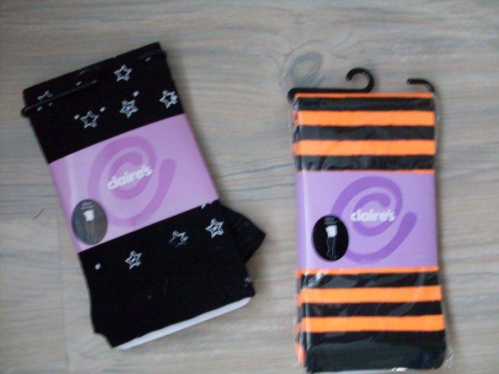NEW 2 Pr Claire's Leggings Biker Shorts M L Black Striped