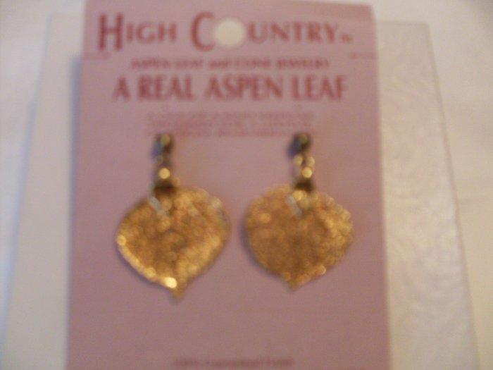 New Real Aspen Leaf plated goldtone Earrings