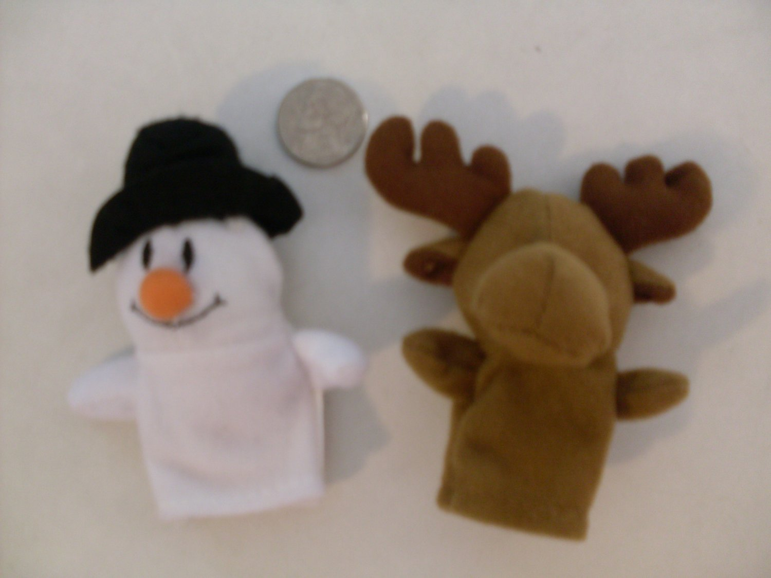NEW Christmas Finger Puppets Plush snowman & moose