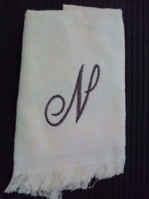 NEW White Fingertip Towel Initial 'N' in Pewter NWT
