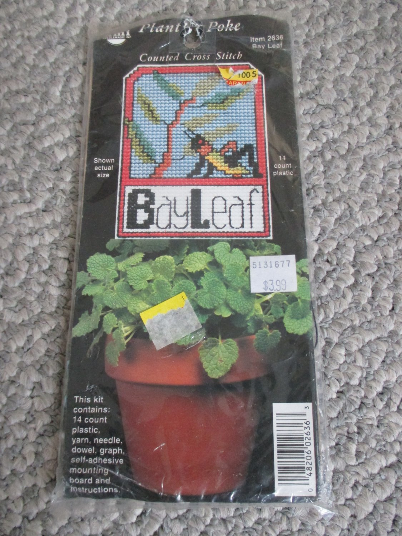 NEW Plastic Plant Poke Bay Leaf Cross Stitch Kit