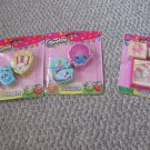 NEW Shopkins Stationery Lot  Erasers & Stamp Set