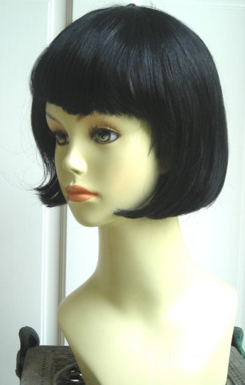 Black Short Bob Wig with Bangs~20's Flapper Costume~Cosplay