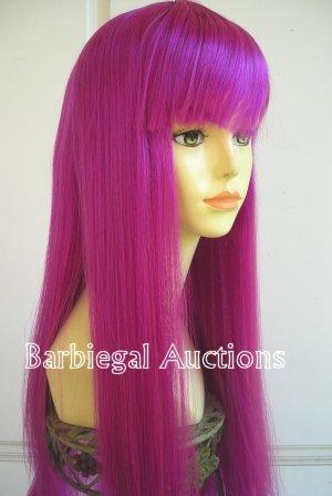 Long Magenta Purple Straight Wig w/ Bangs~Cosplay~Punk~Costume