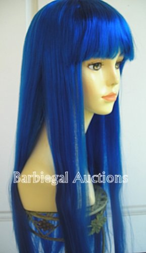 Long Royal Blue Straight Wig w/ Bangs~Cosplay~Punk~Costume