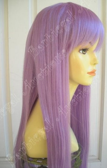 Long Lavender Purple Straight Wig w/ Bangs~Cosplay~Punk~Costume