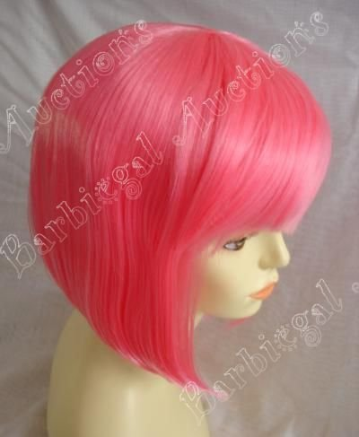 Short Hot Pink China Doll Wig w/ Bangs - Anime Cosplay Costume