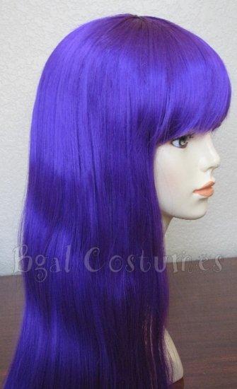 Long Dark Purple Wig with Bangs~Anime~Cosplay~Halloween Costume
