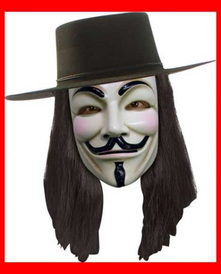 V for Vendetta Costume Wig Hat and Mask