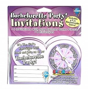 Bachelorette Party Invitations with Attached Spinner Bar/Club Game-Set of 8