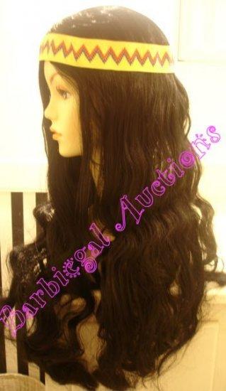Long Black Hippy Halloween Costume Wig~Flower Child