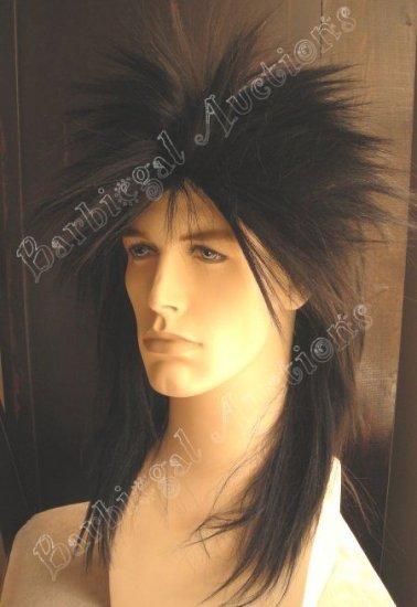 Black Heavy Metal Punk Halloween Costume Wig~Rocker