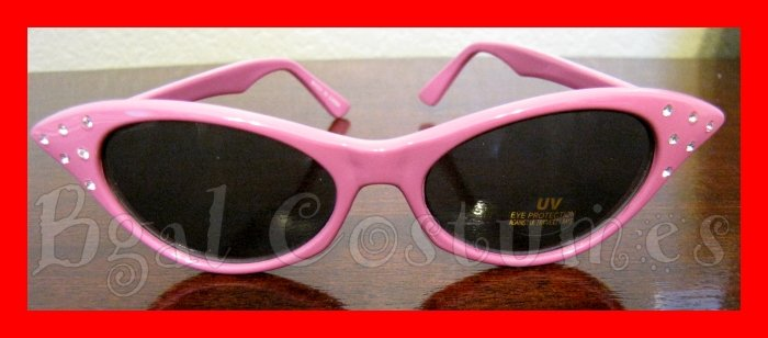 Pink Cateye Sunglasses~Cat Eye~Grease Lady~Halloween Costume