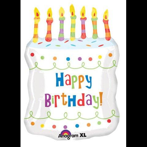 GIANT HAPPY BIRTHDAY CAKE MYLAR PARTY BALLOON~CANDLES