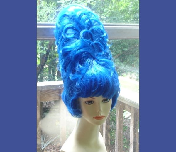 Huge Tall Marge Simpson Beehive Halloween Costume Wig ~ Blue