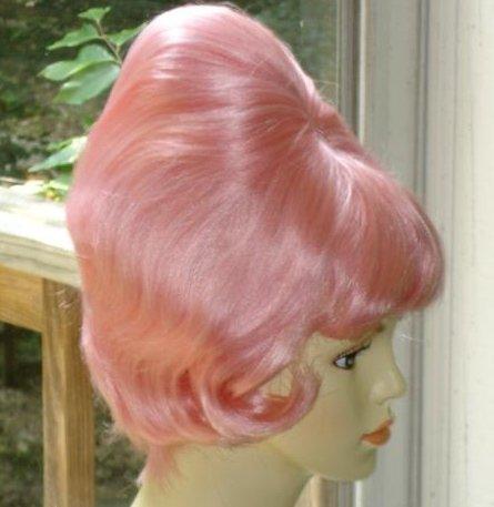 Light Bubblegum Pink Beehive Spitcurl Wig ~1950's-Sixties~Fifties Halloween Costume