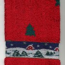 Red Christmas Towel 3 pc set Santa in Sleigh Green Tree