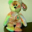 Retired Peace the Bear Ty Beanie Baby NEON AUTUMN combo