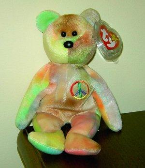Retired Peace the Bear Ty Beanie Baby NEON AUTUMN combo
