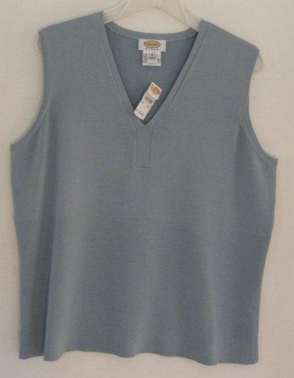 Talbots Woman Silk SLeeveless Tank Top 1X Blue Grey NWT