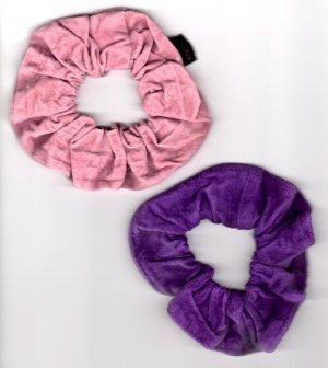 Set of 2 Suede Scrunchies Ponytail holder Purple & Pink