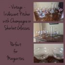 Iridescent Pitcher with 11 Champagne or Sherbet Glasses
