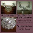 Elegant Depression Glass candle holder Candlestick PRELUDE Viking Crystal etched