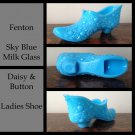 ~ Vintage ~ Fenton Glass Daisy & Button Ladies Shoe Blue