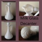 Milk Glass Handled Decanter with Swirl stopper