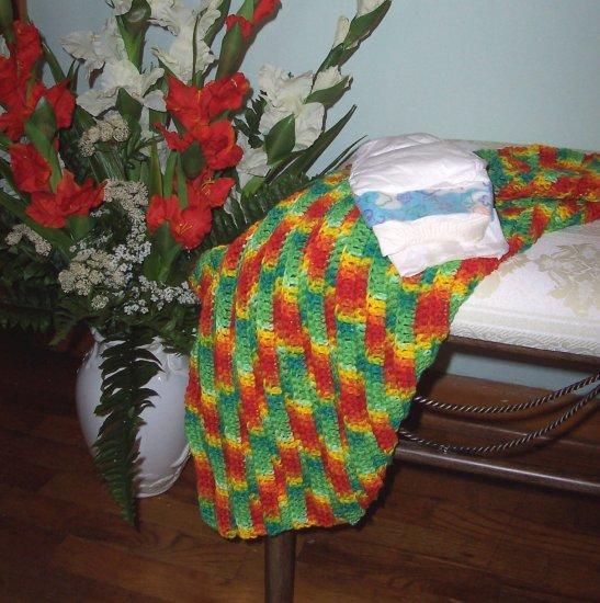 Bright Colored Preemie or Newborn Carseat, Stroller, Nursing Cozy Afghan Blanket