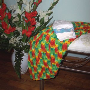 Bright Colored Preemie or Newborn Carseat, Stroller, Nursing Cozy Afghan Blanket