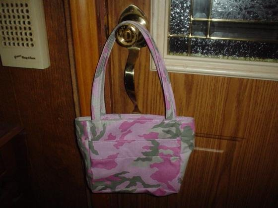 New Custom Made Purse Handbag Tote Pink Camo