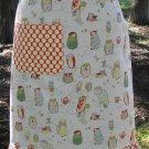 Spotted Owl and Cherry Red Polka Dot Ruffle Apron