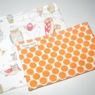 Spotted Owl and Orange Polka Dot Eco Friendly Reusable Sandwich Snack Bag Set