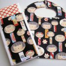 Black Yui Kokeshi and Cherry Red Polka Dot Bib and Burp Cloth Set