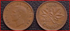 1950 Canadian penny, circulated