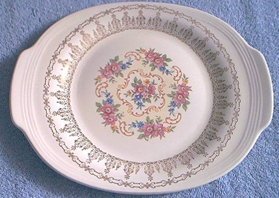Sebring Pottery~Platter~Rose Bower Pattern~Lovely Gold and Pink Flower Design